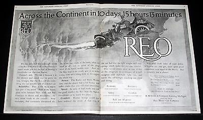 1911 Old Magazine Print Ad, Reo Car, Across The Continent In 10 Days, 15 Hours!