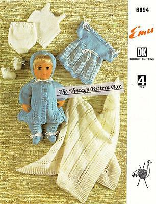 "TINY TEARS  or 12"" & 16"" doll with shawl - COPY doll knitting pattern"
