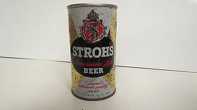 Stroh's Bohemian light beer pull tab beer can bottom opened