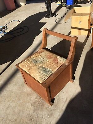 Antique? Vintage Chamber Potty Commode Porcelain Potty Chair  Portable