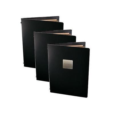 5x Deluxe Tuscan Leather Menu, Black A5 w 2 Pockets, 'Menu' Badge, Restaurant
