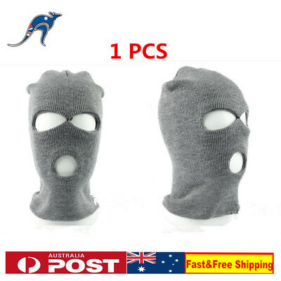 1X Full Face Cover Ski Mask 3 Hole Balaclava Knit Hat Winter Stretch Beanie Grey