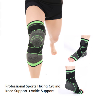 New 3D Weaving Pressurization Brace Knee Support + Ankle Support Sports Pad Set