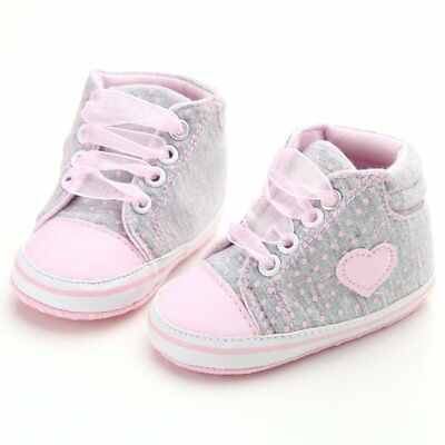 US Newborn Baby Soft Sole Crib Shoes Infant Girl Toddler Sneaker Anti-Slip 0-18