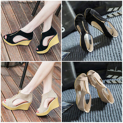 Women Espadrilles Wedge Heel Platform Beach Sandals Peep Toe Zipper Pumps Shoes