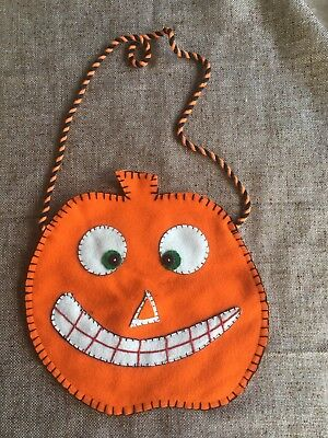 NOS Vintage Wool Hand Applique Wool Fabric JOL Pumpkin Halloween Treat Bag,Purse