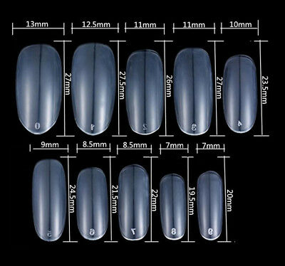 500X  Nail Art Round End Oval Full Cover Nails French  Fake Nail Tips 10 Size