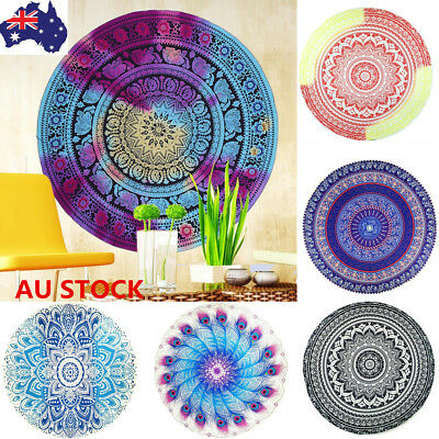 Round Hippie Tapestry Beach Throw Towel Indian Mandala Yoga Mat Picnic Blanket