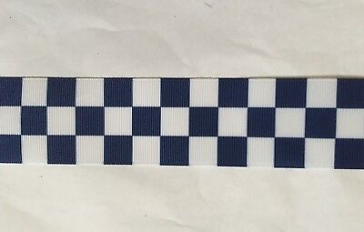 Blue chequered Ribbon 38mm wide 1m long Blue & White Police