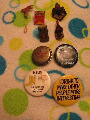 Alcohol and Beer Advertising Pins and Buttons - Wild Turkey, Jack Daniels, Crown