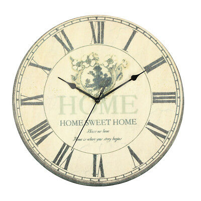 Large Vintage Rustic Flower Rural Shabby Battery Wall Clock Home Kitchen Bedroom