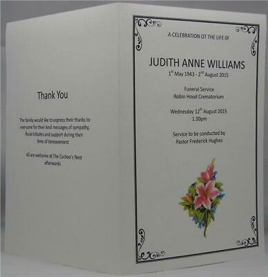 Personalised White Or Ivory A5 Funeral Memorial Order Of Service Lily Design