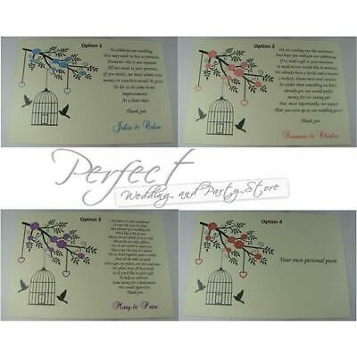 50 Ivory Personalised Wedding Cash Money Gift Poem Cards Bird Cage Hollow Heart