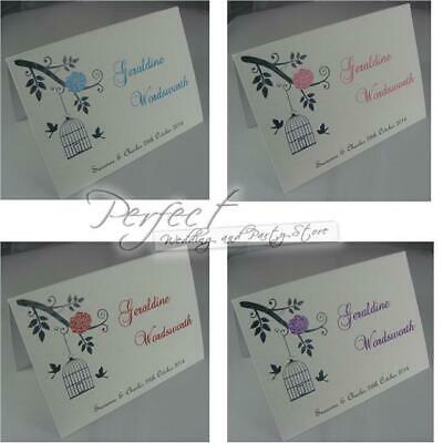 White Personalised Wedding Guest Table Party Place Name Cards Bird Cage Design
