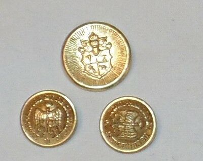 Waterbury Brass Button Lot of 3 Military Eagle with Arrows Shield Crest  Vintage