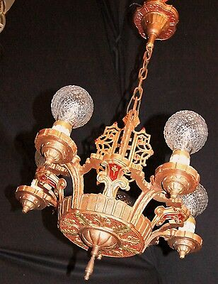 VINTAGE ART DECO ERA CHANDELIER CAST METAL CEILING LIGHT FIXTURE 1930's