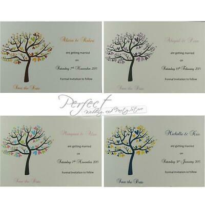 Personalised White Wedding Save The Date Inserts Love Birds Tree With Envelopes