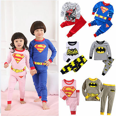 Spiderman Batman 2pcs Kids Infant Boys Pajamas Sets Pjs Nightwear Sleepwear Cute