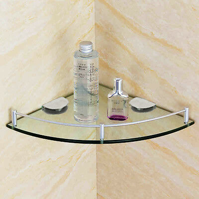 Bathroom Glass Wall Mounted Corner Shelf Rack Storage Organizer Holder 20/25cm