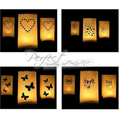 100 Luminaria Paper Candle Lanterns Bags Tea Light holders Wedding Party BBQ'S