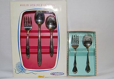 Child Baby Stainless 2 Sets in Boxes Oneidacraft Deluxe 2 Piece and Sanitoy