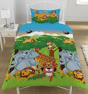 Jungle Friends Single Reversible Duvet Cover and Matching Pillowcase Set