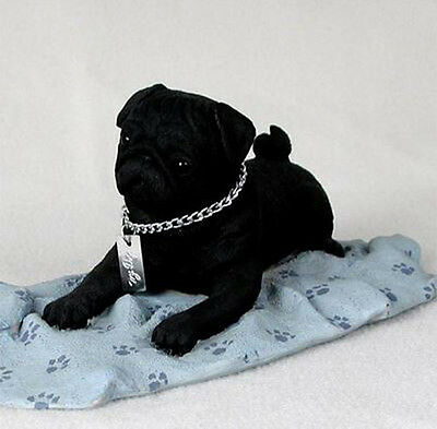 PUG (BLACK)  MY  DOG  Figurine Statue Pet Lovers Gift Resin Hand Painted