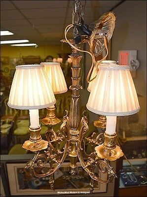Fine French Antique Small Brass/Bronze Chandelier