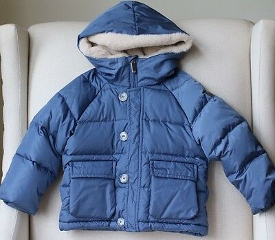 Il Gufo Baby Blue Puffer Jacket Coat With Fur Trim 18 Months