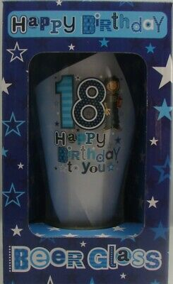 18th Happy Birthday Frosted Pint Beer Glass Present Gift Favour Presentation Box