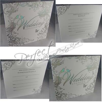 White Wedding Day Or Evening Invitations Silver Embossed Love Bird And Envelopes