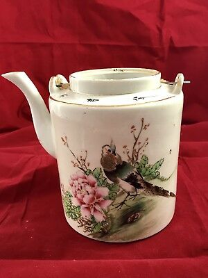 Chinese Antique Famille Rose Porcelain Teapot, Singed