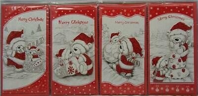 4 Luxury Cute Bear 3D Christmas Money Voucher Xmas Wallet Cards With Envelopes
