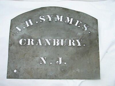 Antique Tin Storekeeper Barrel Stencil A.H. Symmes Cranbury NJ Tool Crate