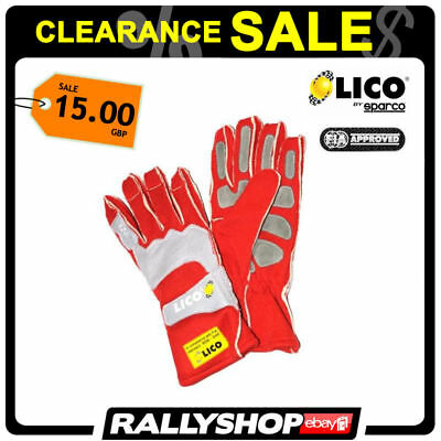 Lico By Sparco Pro Fire FIA Gloves Red size 13 XXL Rally Race CLEARANCE SALE!
