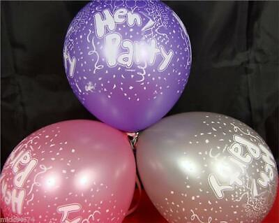 10 Mixed Colours Hen Party Helium Quality Party Balloons Purple Pink Silver