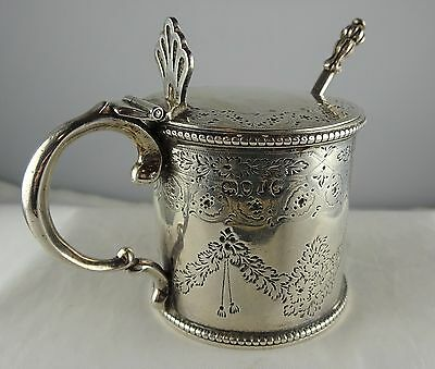 #19 Antique London Sterling Silver Chased Can Shape Mustard Pot Liner Spoon JW