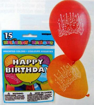 15 Printed Happy Birthday Party Balloons Red Blue Orange Yellow Green Air Fill