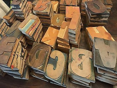 Full Set of Vintage Wood Block Letters from the 70s for Silk Screening-Good Cond