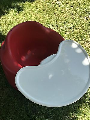Red Bumbo Baby Seat with Play Tray