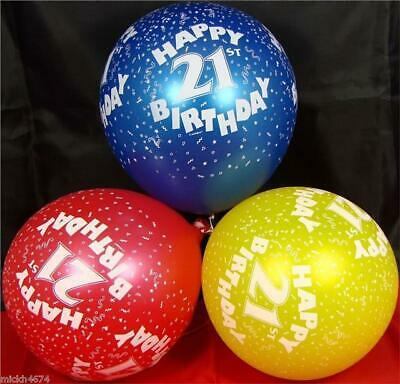 10 Happy 21st Birthday Party Helium Quality 12 inch Balloons Red Blue Yellow
