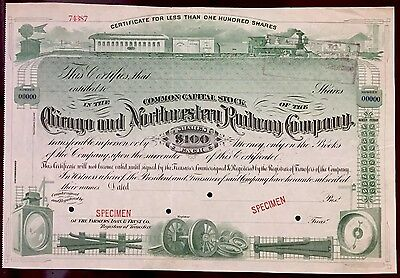 Chicago and Northwestern Railway Co SPECIMEN Stock Certificate AMAZING VIGNETTES
