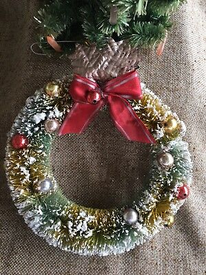 """Vintage Green Flocked Bottle Brush Wreath, Colored Ornaments, Red Bow, 7 1/2"""""""