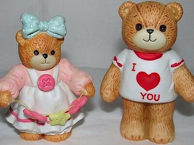 Vintage Lucy & Me Bear Figurines Love Heart Girl Boy Bear Enesco Valentines Day