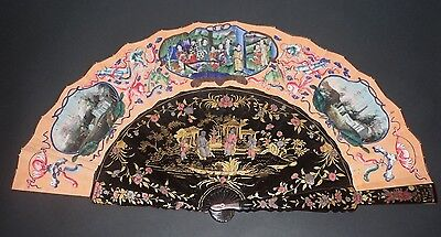 Beautiful Antique Chinese Export Gold Colored Lacquer Court Scenes Landscape Fan