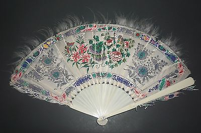 Fine Antique Chinese Export Hand Painted Feather Flowers Butterfly Fan