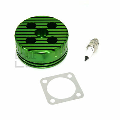 CNC Green Cylinder Head & Spark Plug & Gasket Kit For 66cc 80cc 2 Stroke Engine