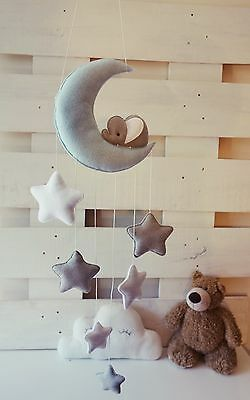 Sleepy elephant Moon and stars nursery decor ( ice blue,silver grey, white )