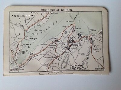 North Wales, Environs Bangor,Anglesey,1889 Antique Street Map, Bartholomew Atlas