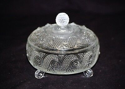 Old Vintage Three Footed Candy Nut Dish Bowl w Lid by Avon Swirl Pattern Designs